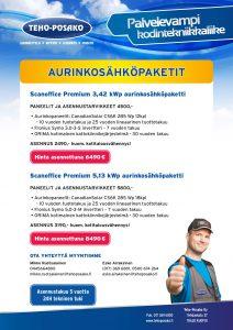 Aurinkosähköpaketit Scanoffice Premium 3,42 kWp ja Scanoffice Premium 5,13 kWp.